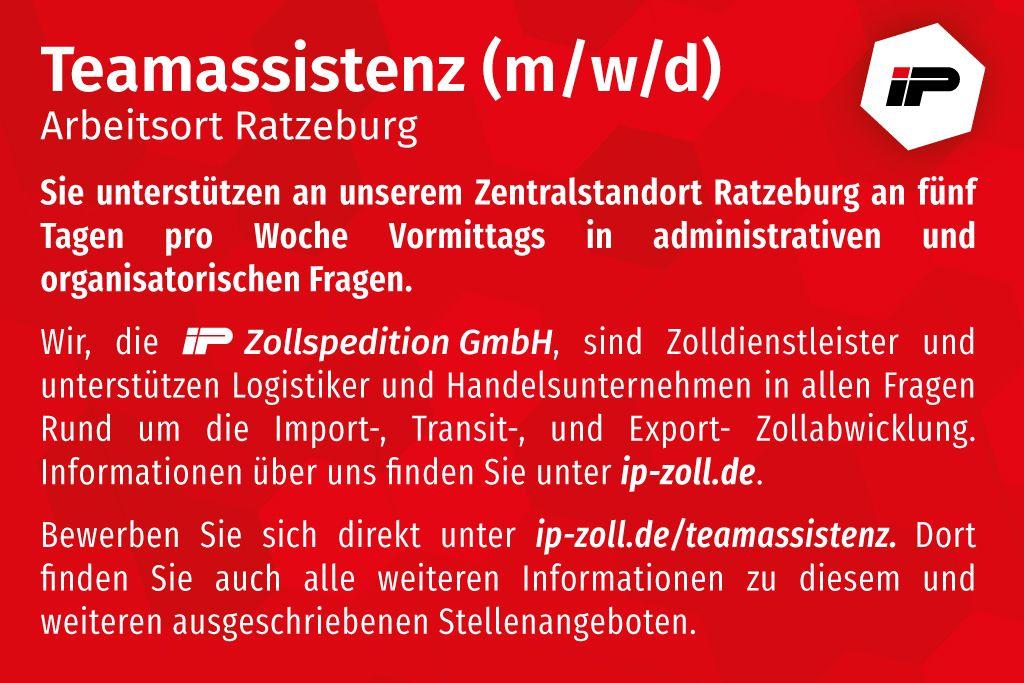 Teamassistenz (w/m/d) in Teilzeit für Standort Ratzeburg gesucht